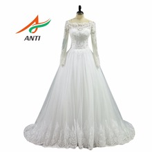 ANTI Romantic 2017 A-Line Wedding Dress With Long Sleeves Appliques Sweep/ Brush Train Robe De Mariee Bridal Gowns Hqy 9231(China)
