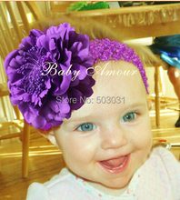 Drop Shipping Retail Cuty Baby Peony Flower Hair Clip with Stretchy Crochet Headband for Girl Pettiskirt