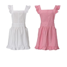 Cotton White/Pink Sweet Kid Girl Women Maid Pinafore Cute Apron Victorian Fancy Dress Ruffle Cosplay Costume