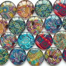 ZEROUP 12mm round photo glass cabochon mixed pattern fit cameo base setting for jewelry flatback 50pcs/lot TP-155