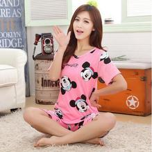 Free shipping new pajamas for women short-sleeved summer pajama sets Cartoon lovely pajamas Casual Cute girl sleepwear suit(China)