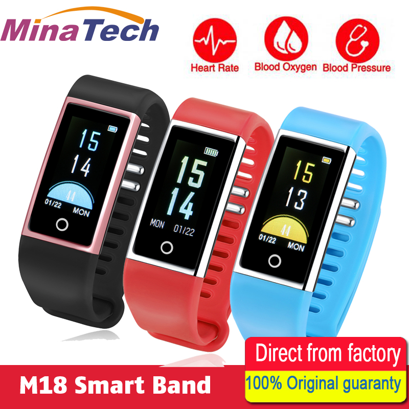 2018 Smart Bracelet M18 Color Screen Band Blood Pressure Heart Rate Monitor Bracelet Fitness Tracker Band Pedometer Wristband