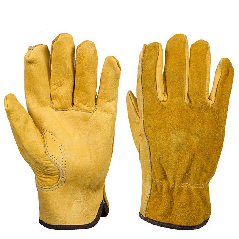 Leather second - tier labor insurance gloves all - skin fingers wear - resistant non - slip garden security supplies<br><br>Aliexpress