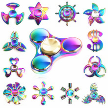 Buy Rainbow brass Hand Fidget Spinner Finger EDC Hand Spinner Tri Kids Autism ADHD Anxiety Stress Relief Focus Handspinner Toys for $2.79 in AliExpress store