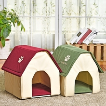 Pet House Foldable Lovely Dog House Bed Soft Kennel Nest For Pets Dog Cats Red Green Home Shape Travel Indoors Pet Sleeping Bed(China)