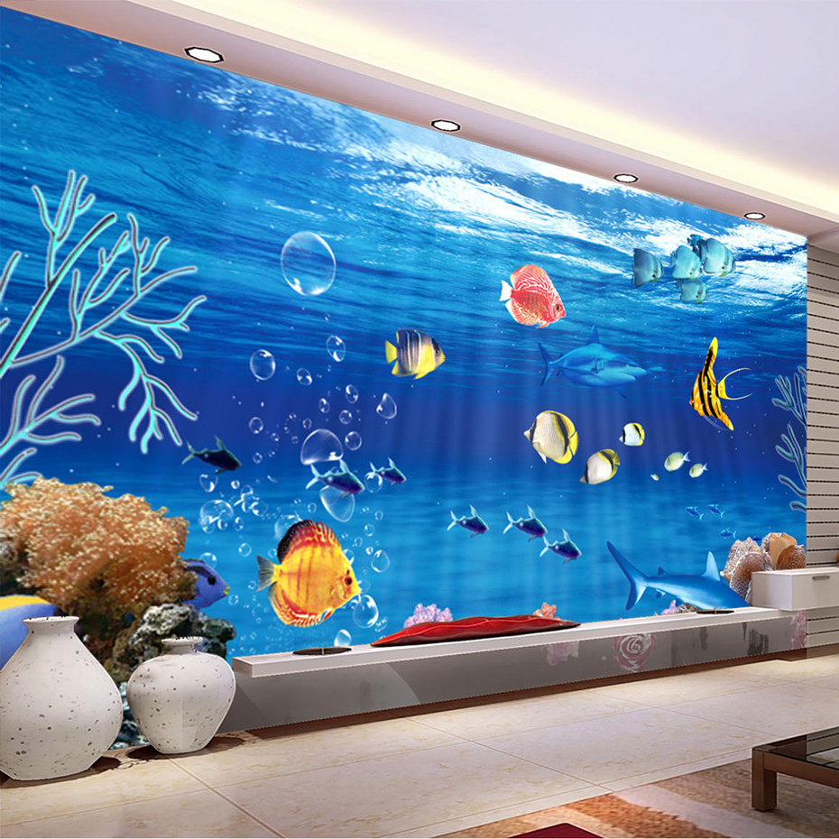 Custom Wall Mural Wallpaper 3D SeaWorld Backdrop Decorative Painting Living Room Sofa TV Background Photo Wallpaper De Parede 3D<br><br>Aliexpress