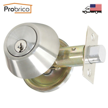 Probrico Stainless Steel Round Home Door Single Cylinder Security Lock/Deadbolt Key Lock Set USA Domestic Delivery DLD101SNDB(China)