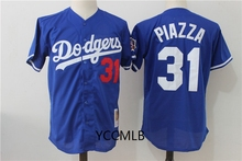 MLB Men's Los Angeles MLB Dodgers 31 Mikes Piazza Blue Throwback Cooperstown Batting Practice Baseball Jersey(China)