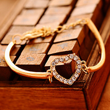 Special Offer Fashion Woman Rose Gold Family Love Heart-Shaped Link Chain Alloy Bracelet Best Girlfriend Birthday Gift