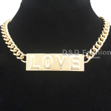 Chic Gold ID Plate Bar 3D Love Word Curb Cuban Chain Collar Bib Couture Necklace Jewelry 2017 New(China)