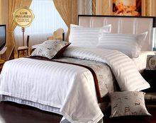Hotel/ hospital/ Beauty/ Pure White Duantiao Twin Full Queen King 3/4pcs Bedding Set/ Bedclothes sheets quilt cover Linge de lit(China)