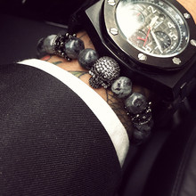 Mcllroy Buddha Bracelet Men CZ Skull Charm India Labradorite 8mm Natural Stone Light Beads Bracelet For Men Handmade Jewelry