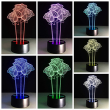 3D Visual Bulb Optical Illusion LED Table Lamp Romantic Holiday Night Light Rose Shape Wedding Valentine Birthday Gifts ZH01678
