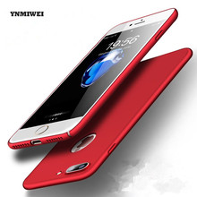 YNMIWEI for iphone 7 case ultra thin china red matte phone cover for iphone 7 plus case hard shell + transparent Glass protector