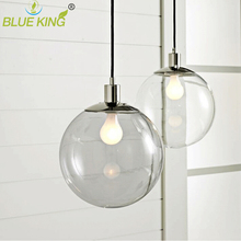 Dining room chandelier modern minimalist restaurant barlighting fixtures transparent spherical glass ball clear light chandelier(China)
