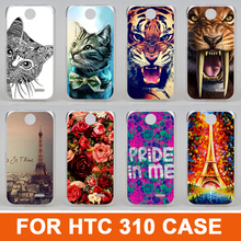 2015 New Fashion 14 patterns painting colored animals eiffel tower beautiful flowers design case cover for htc Desire 310 D310W