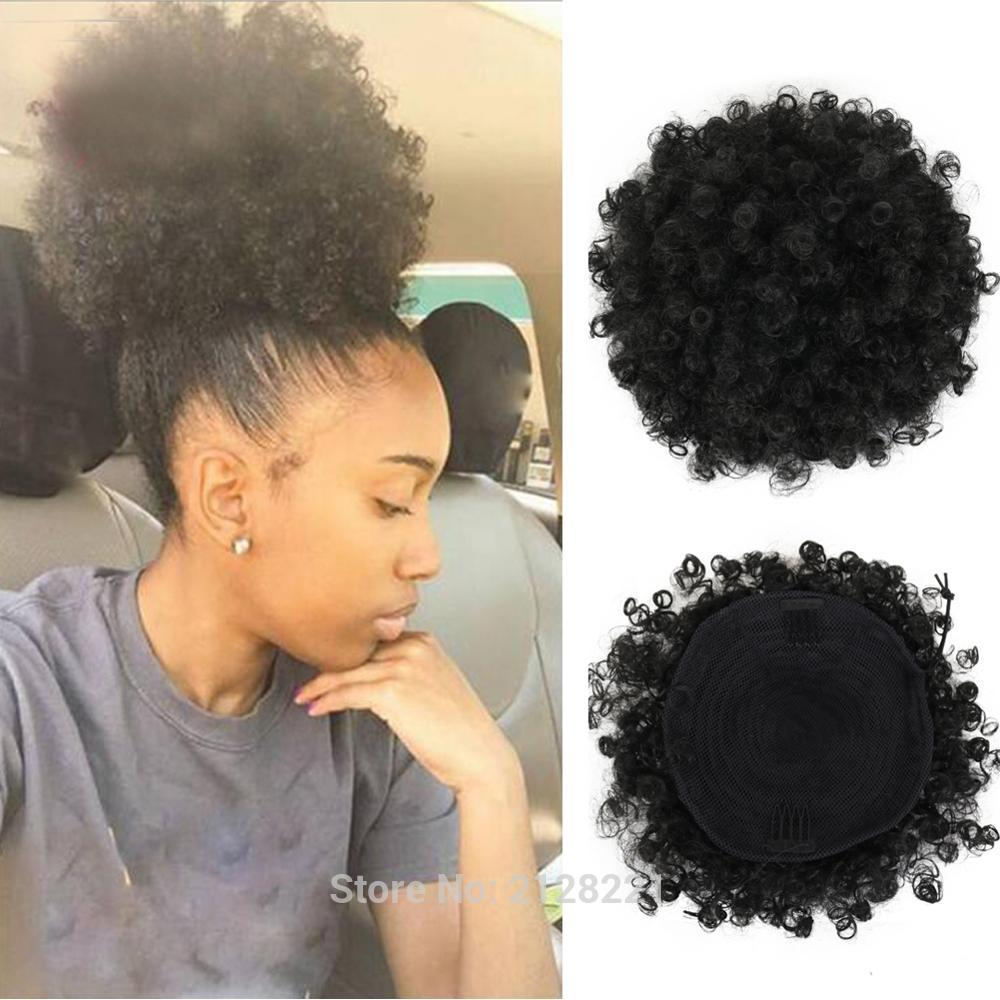 High Puff Afro Curly Ponytail Drawstring Short Afro Kinky Curly Pony Tail Clip in on Synthetic Curly Hair Bun Made of Kanekalon  (12)