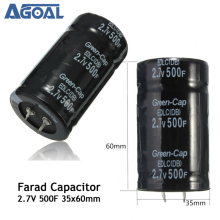 Black 2.7V 500F 35*60MM Super Farad Capacitor Free Shipping(China)