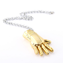 J Store Iron Man Gold Hand Palm Pendant Necklaces for Women Men Jewelry Movie The Avengers Necklace Floating Locket Accessories(China)