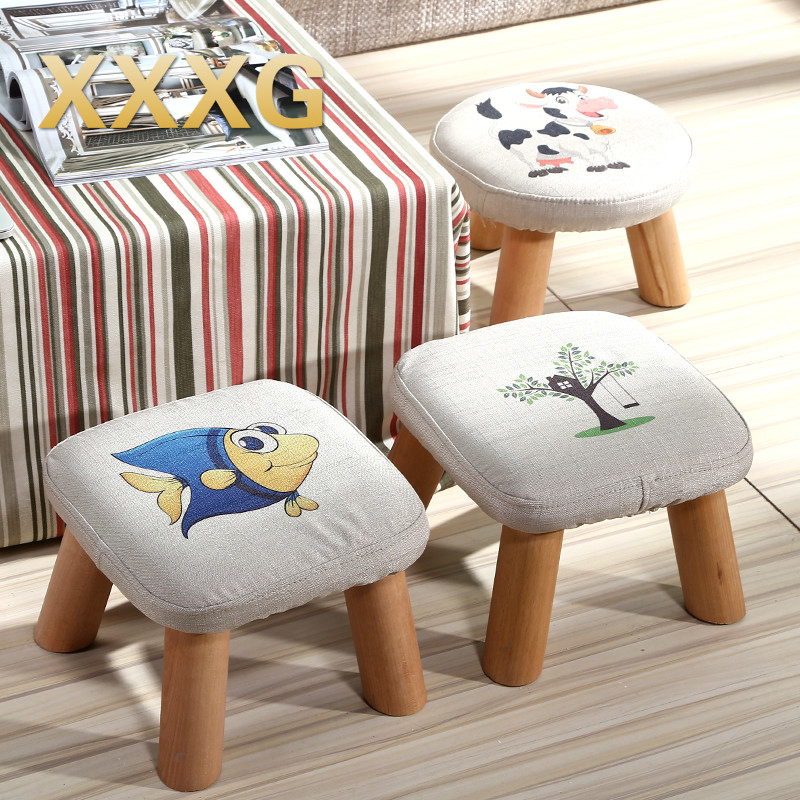 XXXG//Short board stool for shoes for children and adults with small cloth wood chair sofa stool small wooden bench Cloth art<br>