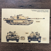 "RMK-046 Free ship vintage kraft paper ""Tank Features"" home decor wall art craft sticker painting for kids rooms 42x30 cm"