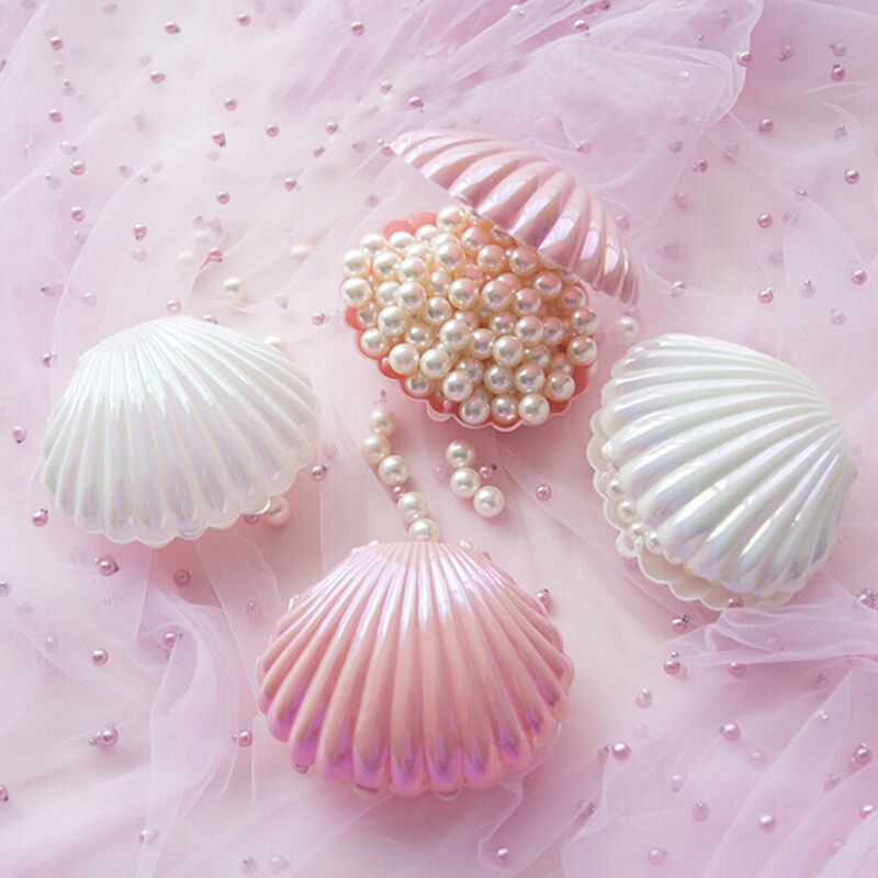 Romantic Shell Shape Lovely Wedding Engagement Ring Box Gift Box Holder For Earrings Necklace Bracelet Jewelry Display