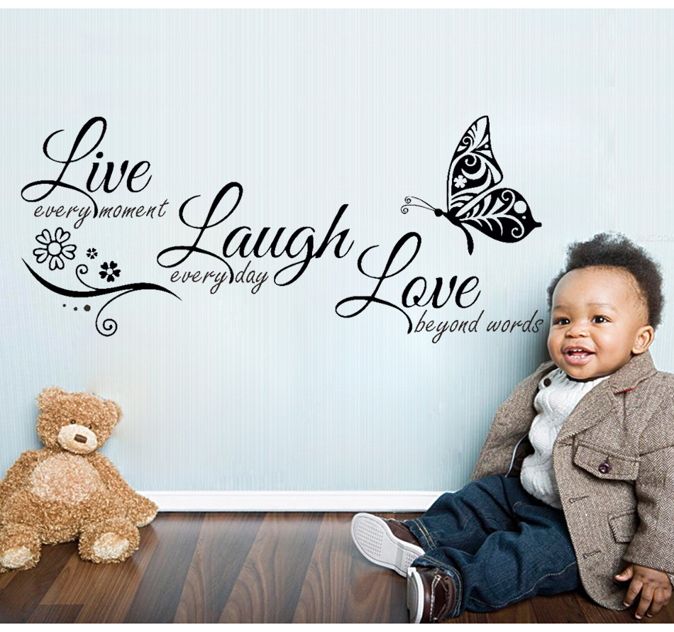 HTB1F9iXXL5TBuNjSspcq6znGFXax - Live Laugh Love Butterfly Flower Modern Wall Decals Quotes Vinyls Stickers