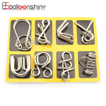BalleenShiny 8 pcs/set Classical Metal Ring Puzzles IQ Brain Teaser Test Toys Locks Educational Learning Gifts for Kids Adults(China)
