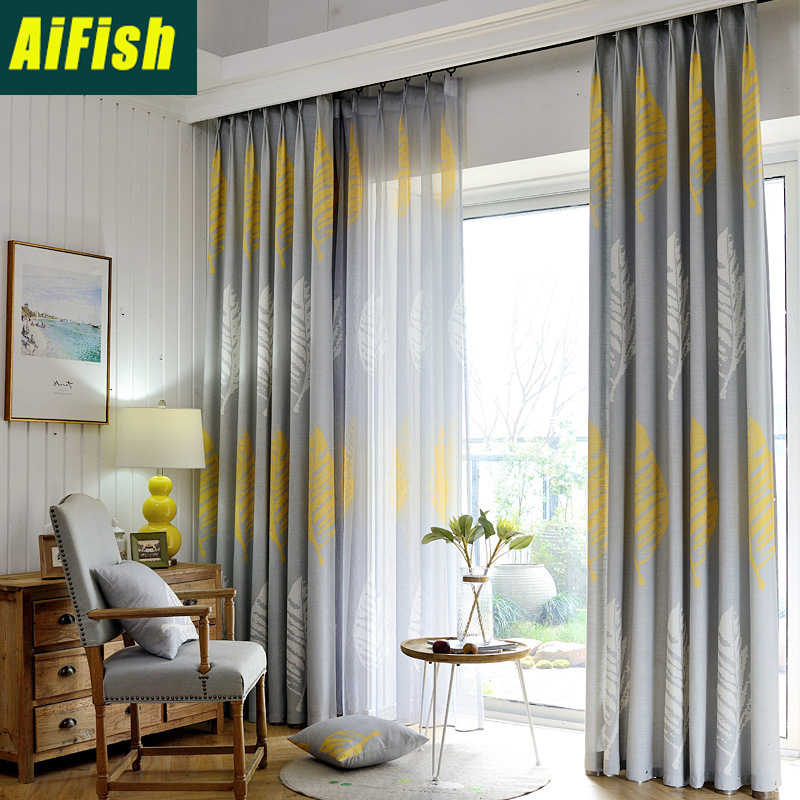 Modern Gray Yellow Leaves Tulle Curtain Sheer Linen for Living Room Customized Semi Blackout Curtains for Bedroom WP205&3