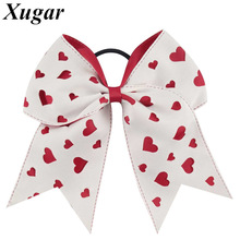 Buy 7'' Cheerleading Bow Hallow Heart Ribbon Cheer Bow Girls Elastic Band Hair Bow Handmade Hair Accessories for $1.39 in AliExpress store