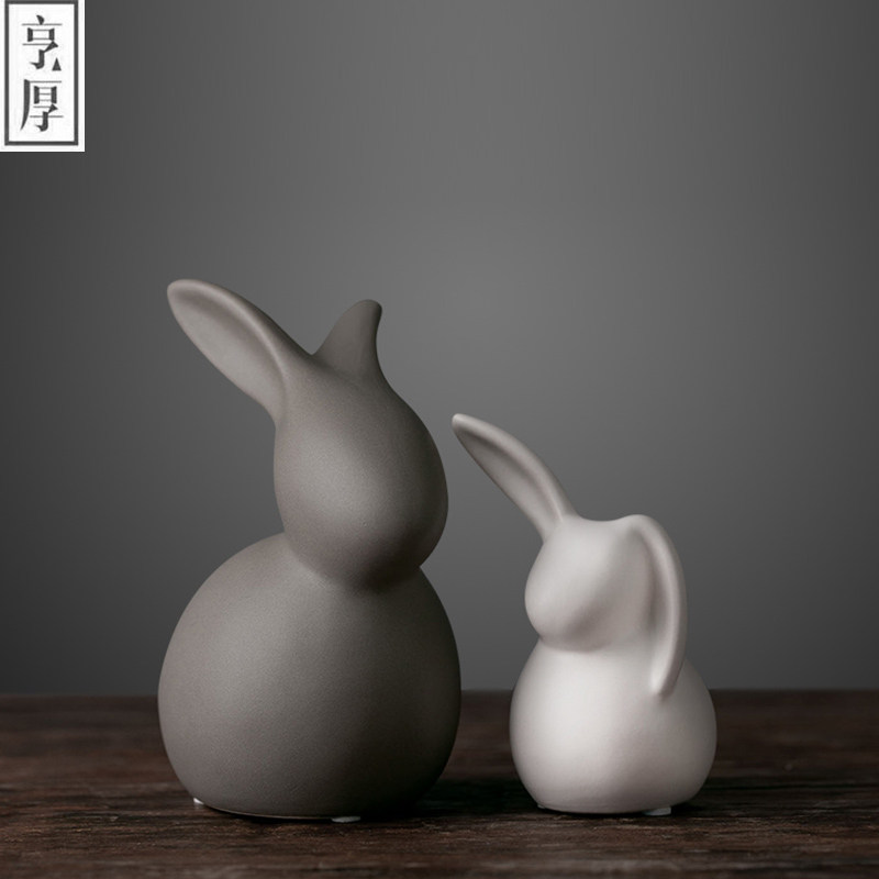 High Grade Contemporary Household Ceramic Crafts wedding decoration , room lovers Decoration,Couple of rabbit,beautiful gift(China)