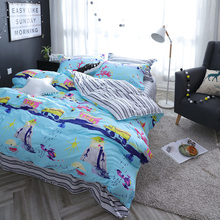 Cartoon hand-printed style duvet cover set 100 cotton,queen twin size kids bedding set,blue quilt cover bed sheet pillowcase