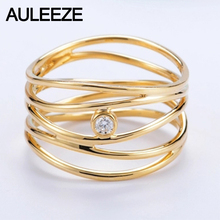 14K 585 Yellow Gold 5 Lines Natural Real Diamond Ring Rome Irregular Line Style Solitaire Diamond Wedding Band For Women Jewelry