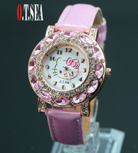 Hot Sales Fashion O .T .SEA Brand Cute Hello Kitty Watches Childlren Girl Women Crystal Quartz Dress Wristwatches 048-27