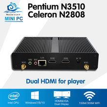 2*HDMI Intel Celeron N2808 Mini PC Pentium N3510 Quad Core Windows 10 Ubuntu Mini Computer HTPC Fanless 300M Wifi tv box player(China)