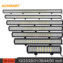 "Auxmart 12"" 23"" 28"" 31"" 36"" 44"" 50"" 6D 3-row LED Light Bar combo beam Offroad work light 12V 24v SUV ATV 4x4 4WD trailer trucks"