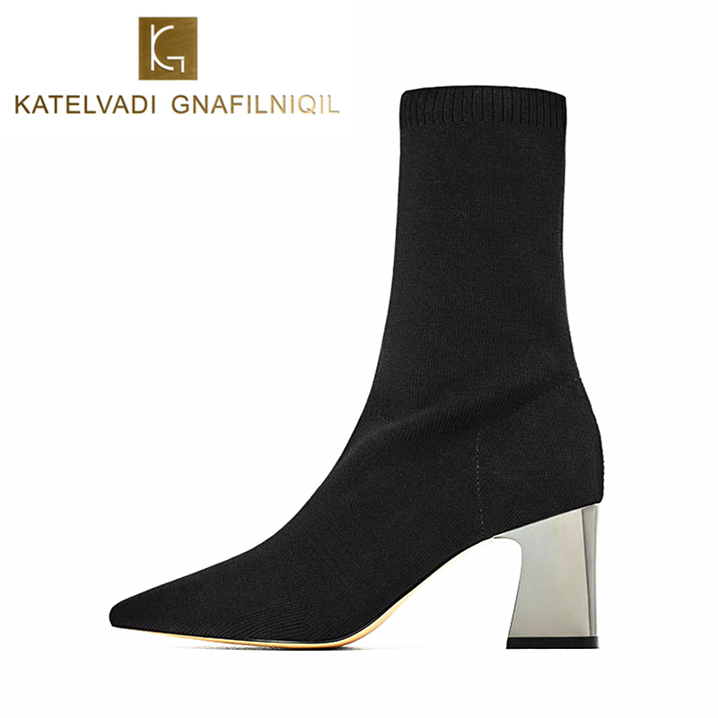 2018 New Women Sock Boots Pointed Toe Elastic High Boots 8CM Chunky High Heels Stretch Women Autumn Sexy Booties Black K-086<br>