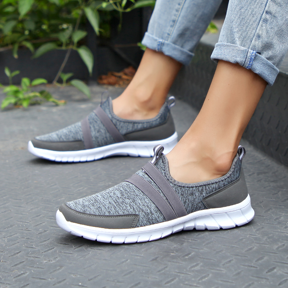 2019 Spring women sneakers shoes women Breathable Mesh shoes ballet flats ladies slip on flats loafers shoes Plus size 41 42(China)