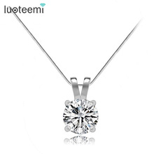 LUOTEEMI Brand Gift Classic Permanent 2ct Solitaire Hearts and Arrows CZ Pendant Necklace Birthday Gift Factory Wholesale