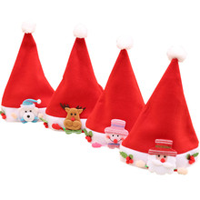 Santa Claus Cap Children Christmas Hat Soft Non Woven Fabric Santa Decoration Kid Baby Hat Christmas Gift Accessories