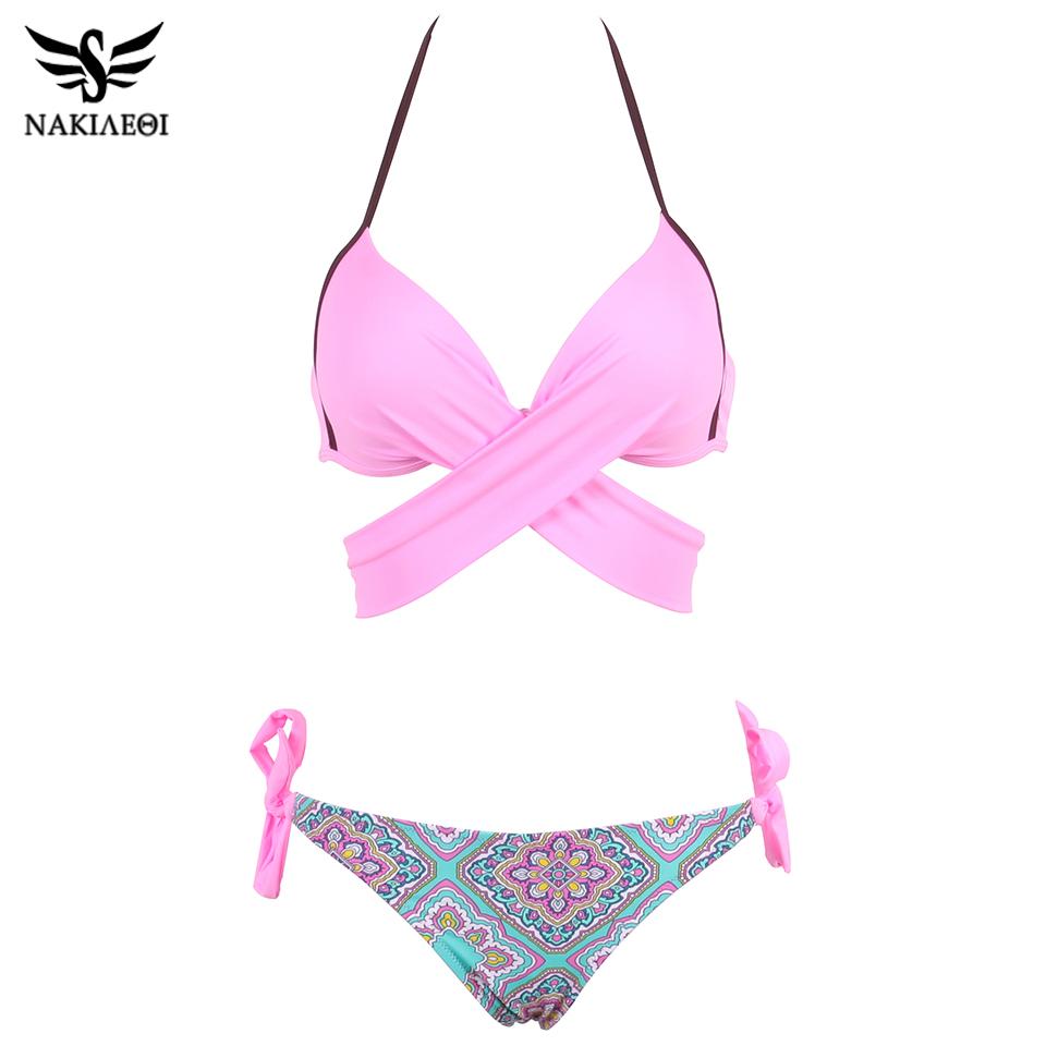 NAKIAEOI 19 Sexy Bikini Women Swimsuit Push Up Swimwear Criss Cross Bandage Halter Bikini Set Beach Bathing Suit Swim Wear XXL 20
