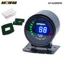 "AUTOFAB - Epman Car Motor Auto 2""52mm Digital Smoked 20 LED RPM Tacho Tachometer Gauge Meter with For honda fit AF-GA50RPM(China)"