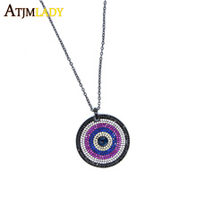 2017 factory promotion High quality Real micro pave cubic zirconia disco round pendant 60cm long chain black gold color necklace