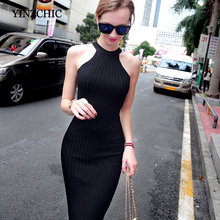 Buy Woman Solid Sheath Midi Dress Halter Neck Sexual Lady Bodycon Knitted Dress New Autumn Sleeveless Furcal Dress