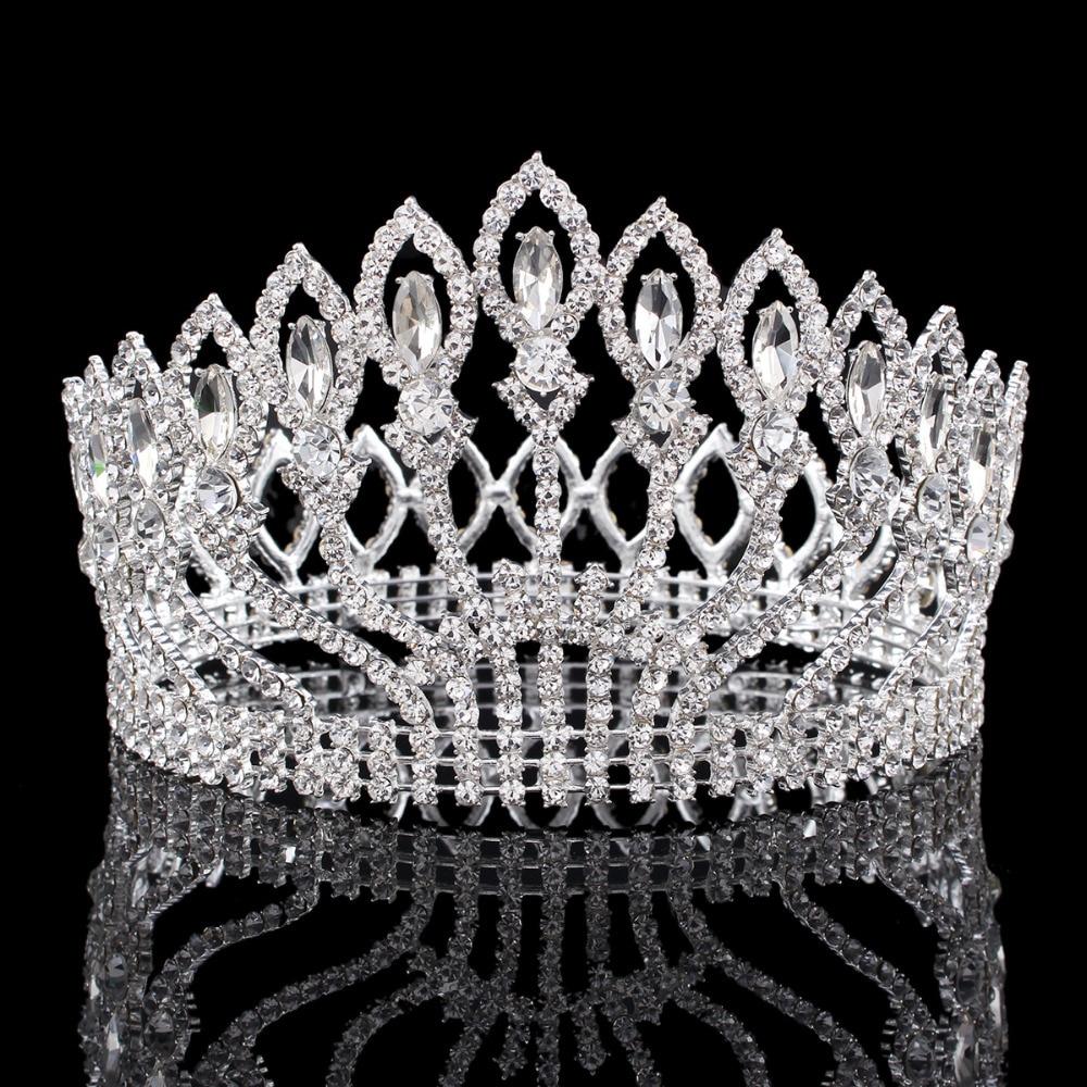 Crowns full circle round tiaras rhinestones crystal wedding bridal - Vintage Big Rhinestone Prom Princess Crown Crystal Bride Flower Tiara Bridal Head Jewelry Pageant Wedding Hair