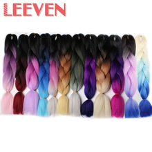 Leeven 24''100g Purple Blue Pink Jumbo Braids Synthetic Ombre Braiding Hair DIY Box Crochet Hair Extension Kanekalon Fiber 1PCS
