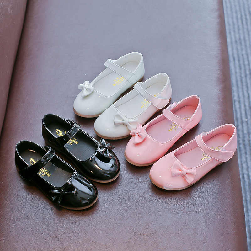 AFDSWG spring and autumn bow low heel pink little girls shoes leather black  white shoes wedding 29d335168000