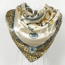 2015 Fashion Leopard Print Design Women Satin Square Silk Scarf Printed 90*90cm Hot Sale Female Beige Polyester Silk Scarf Shawl