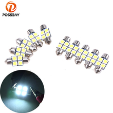 POSSBAY 10Pcs 31mm 5050 4SMD White Micro Universal Vehicle Auto Truck SUV Car Interior Festoon Dome LED Light Bulbs Lamp DC12V