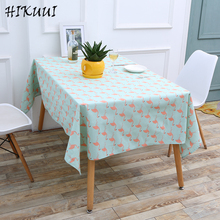 HIKUUI  Pink Crane Pattern Table Cloth Cotton Lined Tablecloth  Europe Table Cover For Home/Party/Outdoor